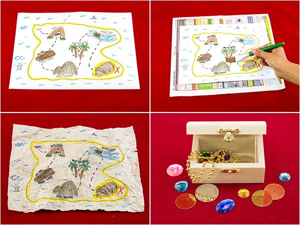 Pirate treasure map and treasure chest